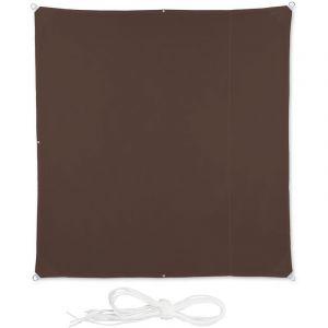Relaxdays Voile d'ombrage carré diffuseur d'ombre protection soleil balcon jardin UV lxP 2x2 m toile imperméable, brun