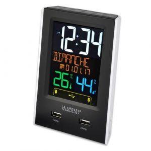 La Crosse Technology WS6816-BLA Réveil avec double chargeur USB, Noir