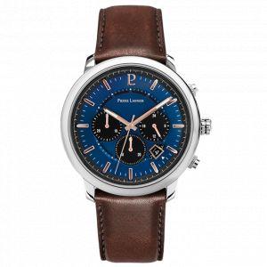 Pierre Lannier Montre 228H164 - IMPULSION Chronographe Boîtier acier poli cadran bleu bracelet cuir brun dateur Homme