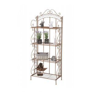 Image de Décoshop26 Etagère pour plantes 4 niveaux en fer 153x61x33 cm marron vieilli