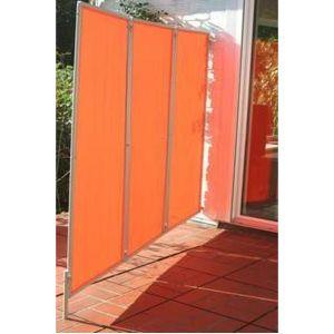 Pegane Paravent ext?rieur, int?rieur terracotta en polyester 140 g/m? anti-UV avec 3 panneaux pliables -Dim : 170 x 70 cm