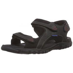 Geox U Sandal Strada WF C, Sandales Bout Ouvert Homme, Noir (Blackc9999), 44 EU