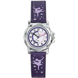 Certus Montre Enfant 647616 - Cuir Violet Motifs Danseuses Cadran Pédagogique Fille