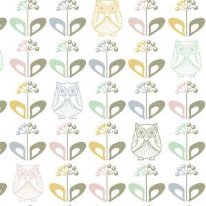 Craftine Tissu Coton enduit Christel G Design Mme Hibou au Jardin Scandinave