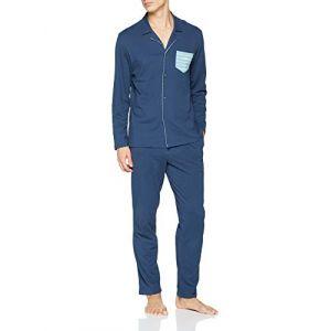 Athena Pyjama long ouvert homme Rayures Bleu