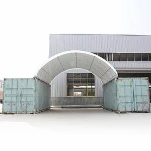 Intent24 Abri sur containers 6 x 6 m hall de stockage PVC 720g/m² blanc.FR