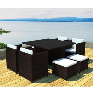 Salon de jardin 4 fauteuils encastrable Résine chocolat Patras ...