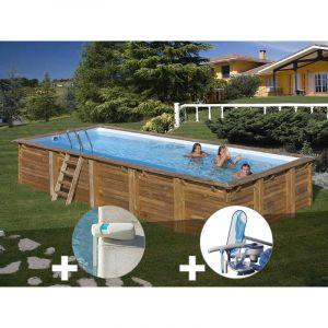 Sunbay Kit piscine bois Braga 8,00 x 4,00 x 1,46 m + Alarme + Kit d'entretien