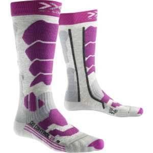 X-Socks Control 2.0 Lady Chaussettes de Ski Femme, Light Grey Melange/Violet, FR : XL (Taille Fabricant : 41-42)