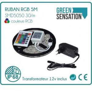 Desineo Ruban à LED RGB 5 mètres + télécommande + Transformateur 12v IP68 SMD5050