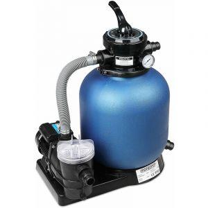 Monzana Pompe Filtre à Sable 10.200 l/h système Filtration Eau Piscine 450W IPX5 Boules filtrantes 700g Inclus vanne 4 Voies Fonctions