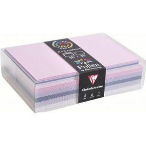 Clairefontaine 20852C - Coffret de 40 enveloppes 114x162 + 40 cartes 110x155 (5 couleurs Naissance)