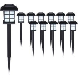 Deuba Set de 12x lampes solaires LED Lumière pour jardin balon terrasse