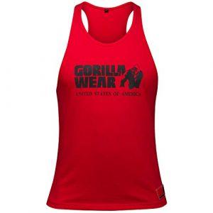 Gorilla wear Gym Shirt Homme - Débardeur Classique Stringer - S à 3XL Bodybuilding Muscle Fitness Muscle Shirt Rouge XXL