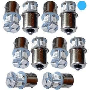Aerzetix 10x ampoule 24V P21W R10W R5W 8LED SMD bleu pour camion semi-remorque porte de garage portail