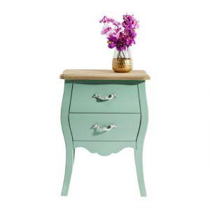 kare design table de chevet vert menthe 2 tiroirs romantic