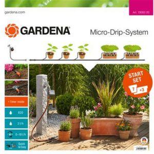 Gardena 13002-20 - Kit d'irrigation Micro-Drip system pour 10 pots avec programmateur