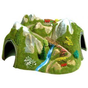 Busch Trains miniatures : décors - Tunnel angle + bridge - uv x 3-H0