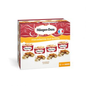 Häagen-dazs Minipots de glace, Macadamia Nut Brittle - La boîte de 4 pots, 348g