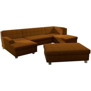 Comforium Canapé d'angle panoramique design avec méridienne gauche et pouf en tissu et cuir synthétique coloris brun orangé