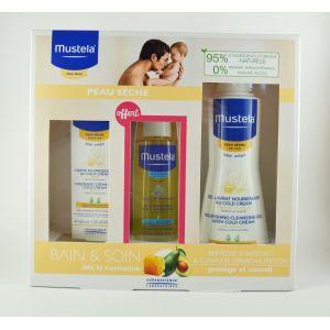 Mustela Coffret Bain & Soin peau sèche 3 produits