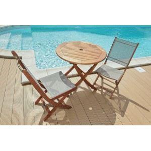 Proloisirs Sophie - Table de jardin ronde en eucalyptus FSC Ø80 cm
