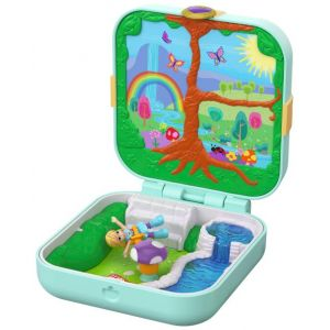 Mattel POLLY POCKET - La Forêt Enchantée de Polly - Coffret incluant une Mini-Figurine 2,5 cm & 3 Surprises