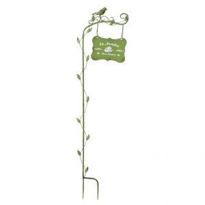 Nortene Pancarte décorative montée sur tuteur Welcome, en métal coloré, H 85 cm