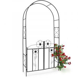 Relaxdays 10020031 Arche à rosier Arceau de jardin décoration tuteur avec portillons en fer époxy Support pour plantes grimpantes-H x l x P: 228 x 116 x 36,5 cm-noir