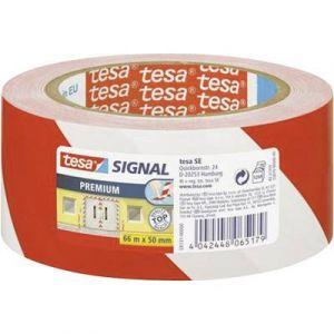 Tesa 58131-00000-00 - Ruban adhésif premium de signalisation et d'avertissement, rouge/blanc