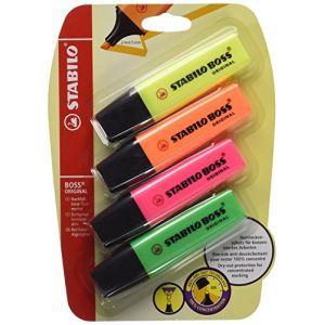 Stabilo Boss Original - Lot de 4 Surligneurs Jaune/orange/rose/vert