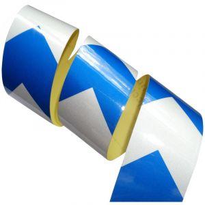 Aerzetix 4.5m 5cm Bande Blanc/Bleu Flèche Adhésive De Marquage Réfléchissante Retroréfléchissante