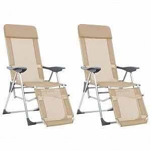 VidaXL Chaises de camping pliables 2pcs et repose-pied Crème Aluminium