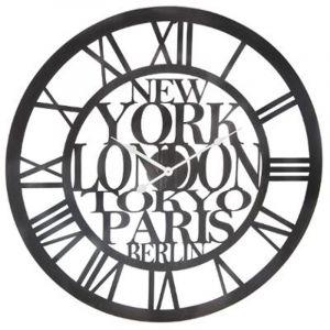 """Horloge Murale Vintage """"Ville"""" 60cm Métal Noir Prix"""