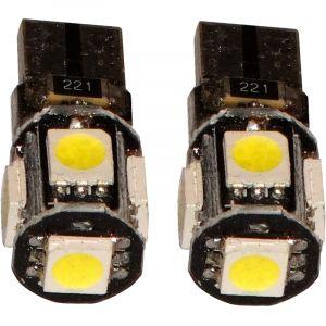 Aerzetix : 2x ampoule T10 W5W 12V 5LED SMD bleu veilleuses éclairage intérieur seuils de porte plafonnier pieds lecteur de carte coffre compartiment moteur plaque d'immatriculation