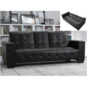 Canapé 3 places clic clac en simili DEVONSHIRE avec tablette centrale rabattable Noir