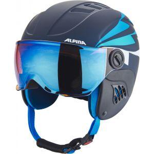 Alpina Carat Le Visor HM Casque de Ski pour Enfant avec Visière M Nightblue-Denim Matt