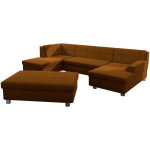 Comforium Canapé d'angle panoramique design avec méridienne droite et pouf en tissu et cuir synthétique coloris brun orangé