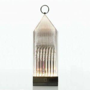 Kartell LANTERN - Lanterne d'extérieur LED rechargeable Fumé translucide H31cm - Luminaire d'extérieur designé par Fabio Novembre