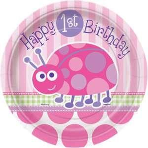 """Unique Party 8 assiettes en carton Coccinelle 1er anniversaire fille """"Happy 1st Birthday"""""""
