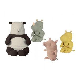 Maileg Set de poupées cochon truffe petit, amis safari petit rhinocéros vert, panda grand, amis de safari petit hippo jaun