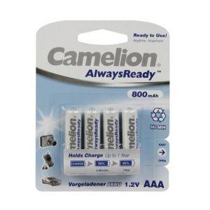 Camelion AlwaysReady Micro AAA Ni-Mh 800mAh 1,2V - Lot de 4 Piles Accus déjà chargés