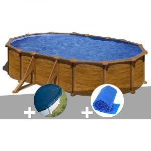 Gre Kit piscine acier aspect bois Mauritius ovale 5,27 x 3,27 x 1,32 m + Bâche hiver + Bâche à bulles