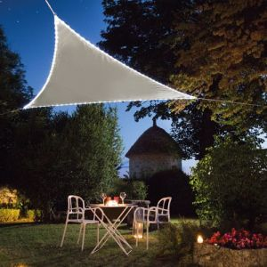 Voile d'ombrage triangulaire Leds solaires 3,60 x 3,60 x 3,60 m Taupe