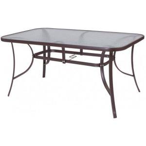 Declikdeco Table de Jardin Acier-Verre Marron NAIRI