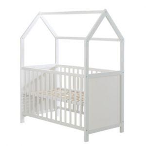 Roba Lit à barreaux cabane enfant bois blanc 60x120 cm