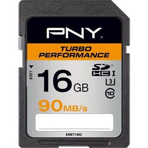 PNY SD16GTURPER90-EF - Carte mémoire SD Turbo Performance 16 Go UHS Class 1 Class 10