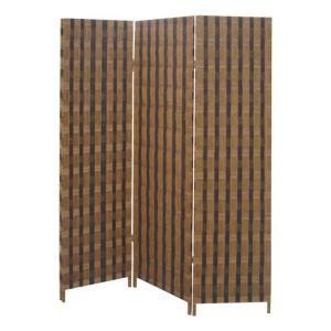 Pegane Paravent en bois et corde de 3 panneaux -