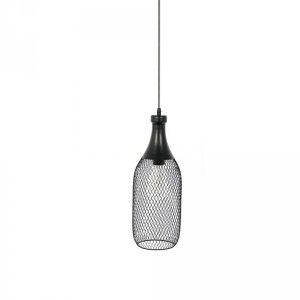 Suspension en métal forme de bouteille filaire