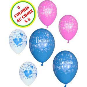 8 ballons Baptême (29 cm)